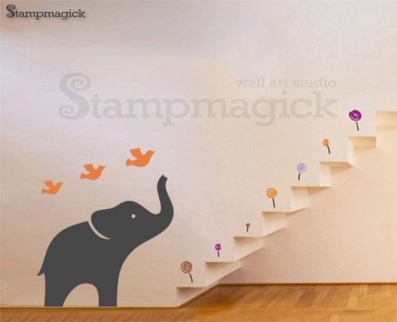 Big Elephant Wall Decal In 2 Colors   Nursery Wall Decal   Animal Baby  Children Wall Decal   Part 66