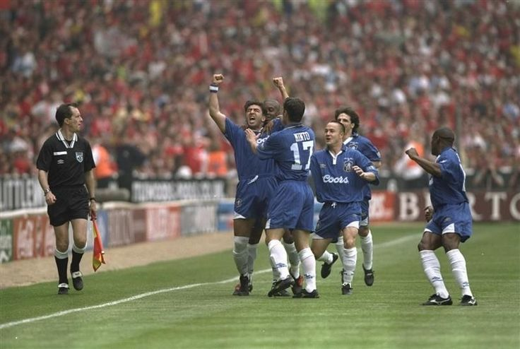 17 May 1997: ROBERTO DI MATTEO celebrates with team mates after scoring the 1st minute goal in the FA Cup Final against Middlesbrough at Wembley Stadium. CHELSEA won 2-0...