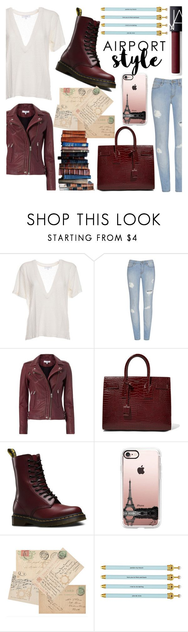 """Airport Style II"" by bezaliel ❤ liked on Polyvore featuring IRO, Yves Saint Laurent, Dr. Martens, Casetify, Santa Barbara Design Studio, NARS Cosmetics and airportstyle"