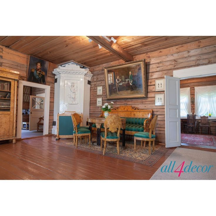 Элементы «русской усадьбы ХIХ века» можно привнести в практически любое просторное помещение. Здесь также приветствуются стены, обитые досками или побеленные, деревянные полы, мебель, которую можно покрасить или расписать неяркими цветами. Главным предметом обстановки в гостиной является горка для посуды, с вырезанными узорами; в спальне – кованая кровать; в библиотеке – уютное кресло-качалка.  #Furniture #Lighting #Loft #Design studio #Interior design