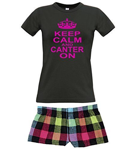 Black Women's T-Shirt & Neon Shorts Pyjama Set 'KEEP CALM AND CANTER ON' with Hot Pink Print.