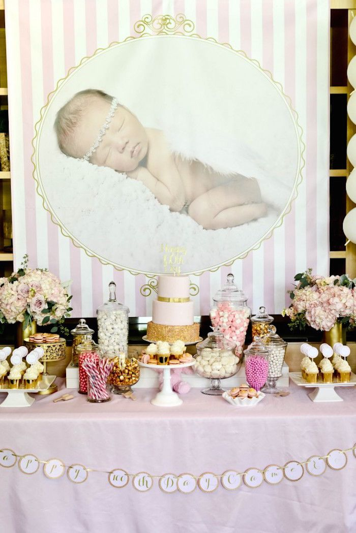 Pink gold 100th day korean party via kara 39 s party ideas for 100th birthday decoration ideas