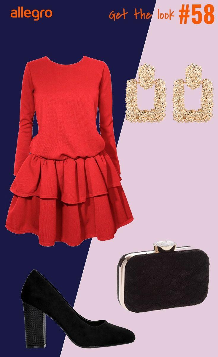 Czerwona Sukienka Kolczyki Zlote Kolczyki Torebka Puzderko Czolenka Buty Na Obcasie Fashion Moda Polyvore Image