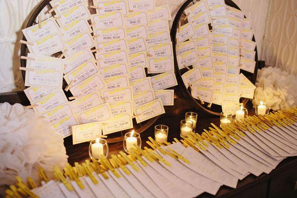 white yellow escort cards via ruffledblog.com