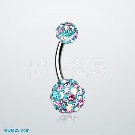 Retro Motley Tiffany Inspired Sparkle Belly Button Ring #jewelry #piercing #bellyring #fashion