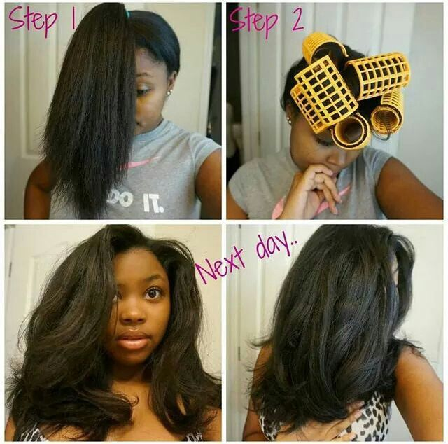 Ponytail roller set. I actually tried this with 2 ponytails. More volume and thickness.