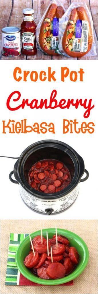 Crockpot Cranberry Kielbasa Bites Recipe!  Just 3 ingredients and you've got the perfect crowd-pleasing appetizer... perfect for holidays and parties!