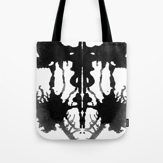 """Rorschach I by Fathima's Studio  Quality crafted Tote Bags are hand sewn in America using durable, yet lightweight, poly poplin fabric. All seams and stress points are double stitched for durability. Available in 13"""" x 13"""", 16"""" x 16"""" and 18"""" x 18"""" variations, the tote bags are washable, feature original artwork on both sides and a sturdy 1"""" wide cotton webbing strap for comfortably carrying over your shoulder."""