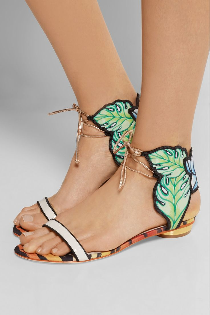 Sophia Webster|Rousseau Jungle printed satin and leather sandals |NET-A-PORTER.COM