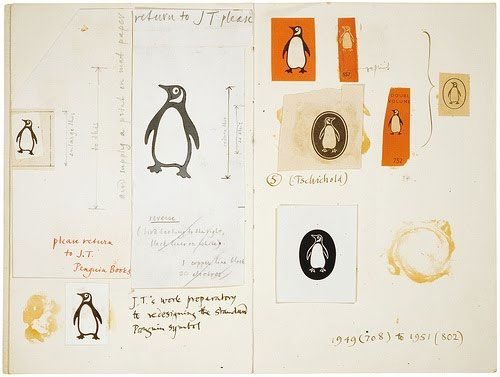Penguin logo sketches by Jan Tschichold from the original 1946 version. Logodesignlove.com elaborates on the 2003 evolution by Pentagram's Angus Hyland.