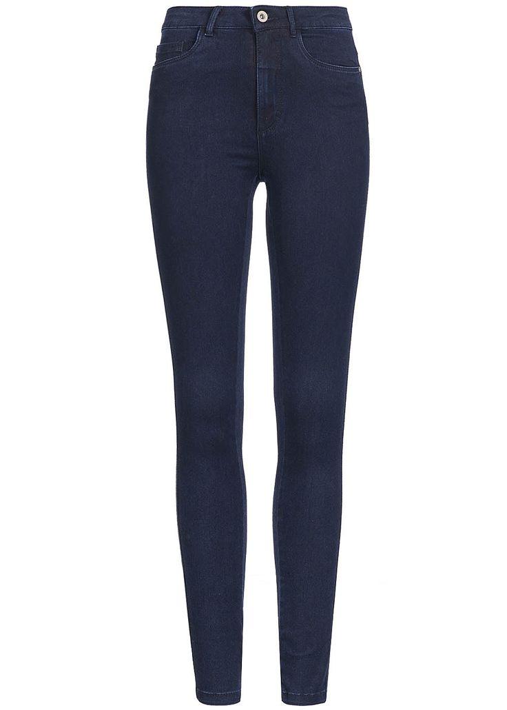 ONLY Damen Skinny Jeans NOOS 5-Pocket Style High Waist dunkel blau denim - 77onlineshop