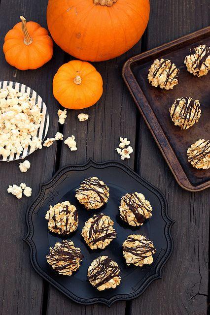 Halloween Dark Chocolate Drizzled Popcorn Balls