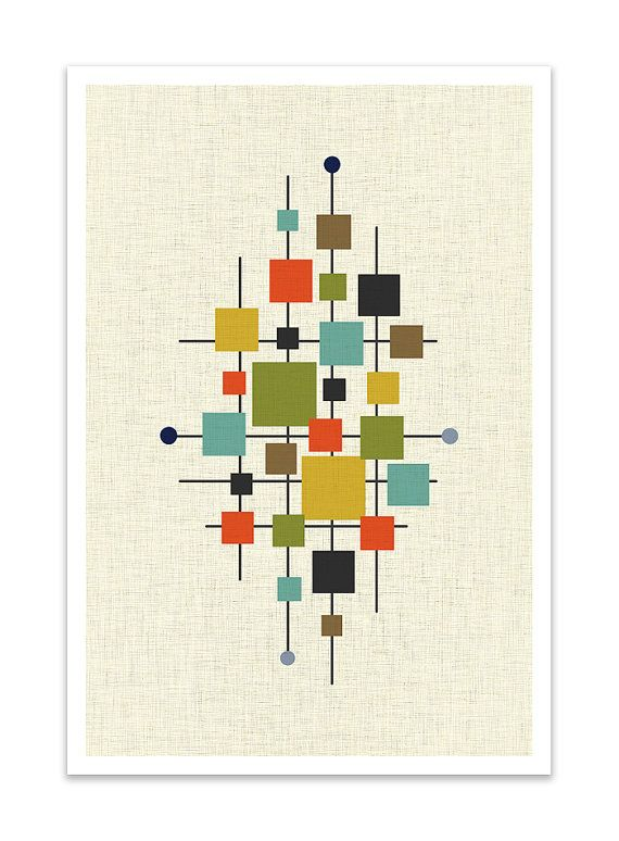 AREA  Giclee Print  Mid Century Modern Danish Modern by Thedor, $24.00