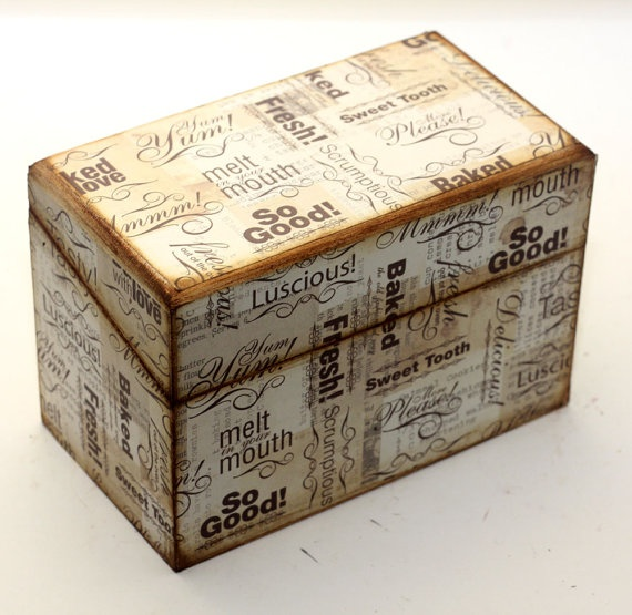 Recipe Box Wood Brown Cooking And Baking Words Fits by KotiBeth, $26.00