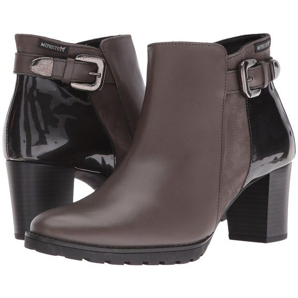 Mephisto Jaimie (Dark Grey Citycalf/Grey Bucksoft/Patent) Women's... ($200) ❤ liked on Polyvore featuring shoes, boots, ankle booties, ankle boots, taupe, grey boots, buckle booties, grey ankle boots, grey ankle booties and taupe buckle booties