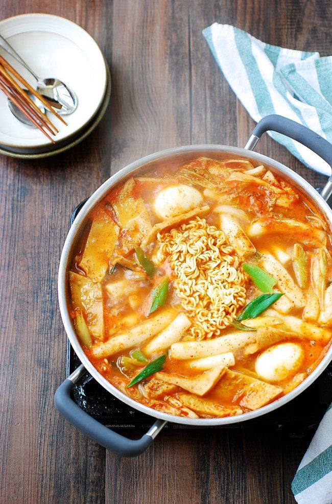 """Literally translated """"stir-fried rice cake"""", tteokbokki is one of the most popular snack/comfort foods at home and on the streets of Korea. This recipe is a soupy variation of spicy tteokbokki."""
