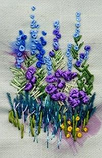 Blue Delphiniums Textile Mini Embroidery Project ~ my friend, Jean, loves the smell of delphiniums...