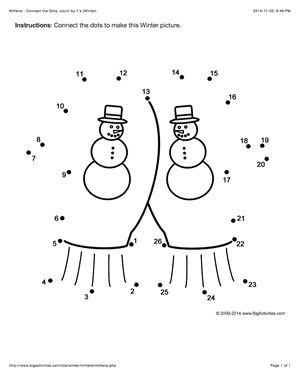 Winter connect the dots page featuring mittens. Multiple choices (dot to dot puzzle)