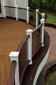 The Chantilly- cubed deck project by TREX- color is spiced rum with vintage lantern border