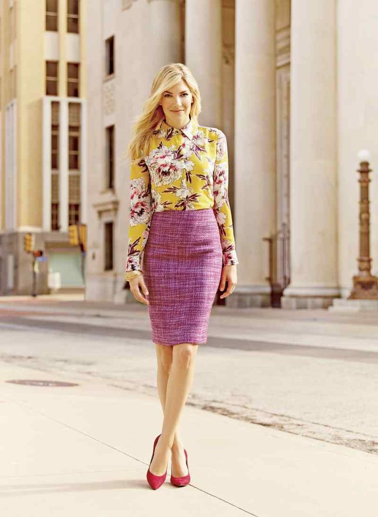 Liz Claiborne pink tweed pencil skirt paired with a yellow floral print blouse and red heels --- Perfect Spring outfit