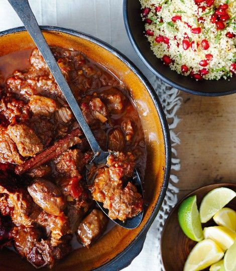 Lamb-and-date-tagine-with-pomegranate-couscous - could work well with Lamb Shanks? And add chickpeas