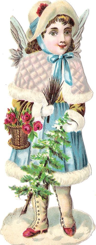 Oblaten Glanzbild scrap die cut chromo  Winter Engel angel ange Schnee snow MICA