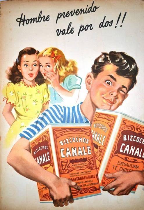 Bizcochos CANALE. Publicidad argentina de 1950.