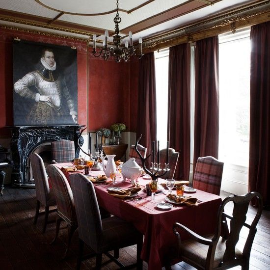 Grand Red Tartan And Check Dining Room