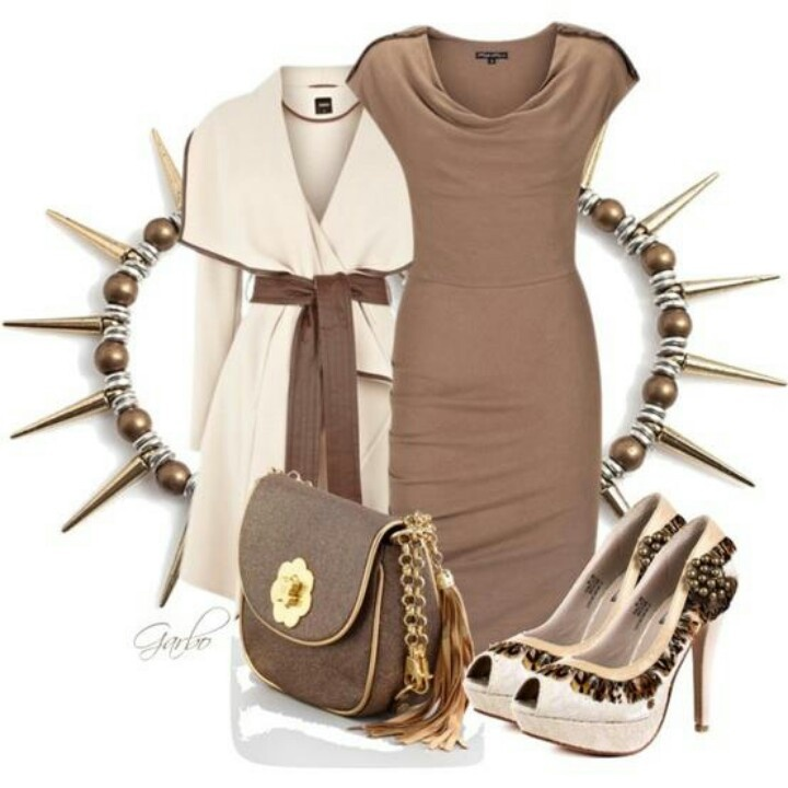 Tan dress, fantastic heels and dress.  Great for work or a date night
