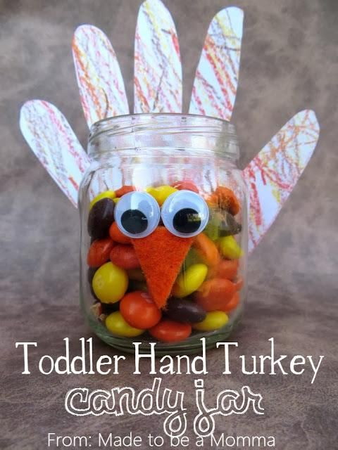 "could even use this as a reward jar, when they do something good (or even say ""Thank you"" since its Thanksgiving time), add a marble and when its full get a prize. Toddler Hand Turkey Candy Jar"
