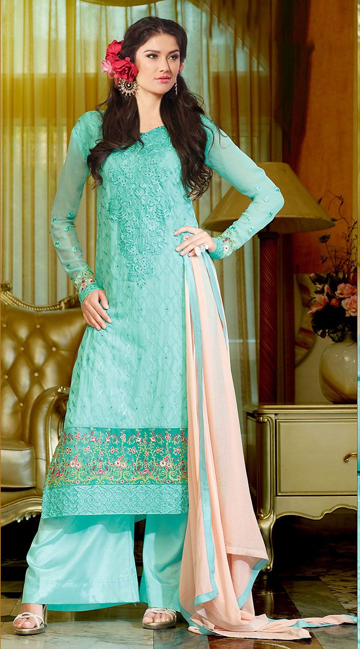 Lovely Aqua Georgette Indowestern Suit With Palazzo Pant ...