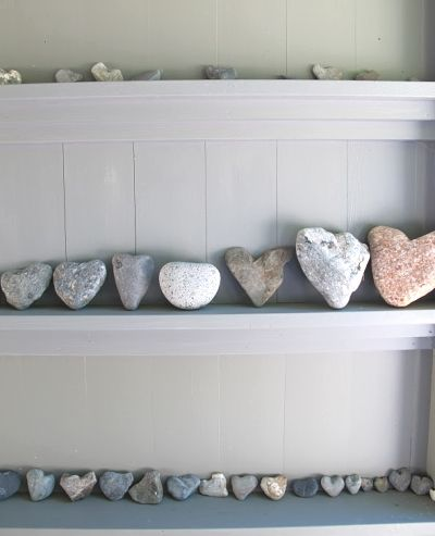 heart rocks collection at Martha Stewarts house in Maine. I have one too.