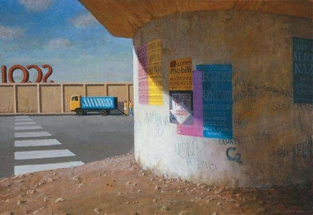 Jeffrey Smart, Pylon I  2006  oil on canvas 75 x 110 cm  AG103564