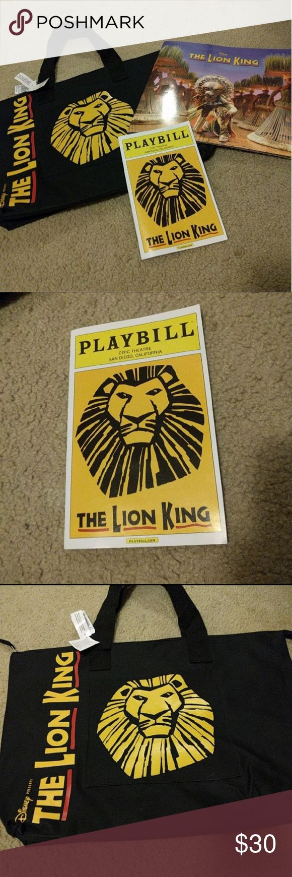 Lion King Broadway BUNDLE This bundle features three items from Disney's Broadway performance of the Lion King on tour in San Diego performed at the Civic Theatre.   - zippered tote bag with outside pocket - playbill -behind the scenes and in depth program  All authentic from the show. I saw and loved it but want this to go to a good home.   Bag has never been used. NWT. Only one side has the image. The other side is simple black.   This bundle is   Tags:  Lion Guard Disney Simba Mufasa…