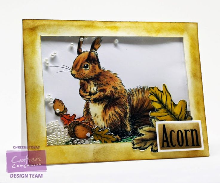 Chrissie Tobas of Harvest Moon Papiere for Crafter's Companion: Introducing Sheena's Perfect Partners! Sheena's Perfect Partners: Little Acorn EZ Mount Stamp Set, Spectrum Noir Markers: Squirel: TN1, TN2, TN3, TN4 Acorns & Leaves: TN2, TN3, TN4, GB6, GB8, OR2, OR3, EB2, EB3, Spectrum Noir Blendable Pencils:Squirel: 097, 092, 045, 046, 048, Die'Sire Essentials: Rectangles, Sheena's Decorative Metal Die: Leaves and Acorns, @CraftersCompUS @spectrumnoir