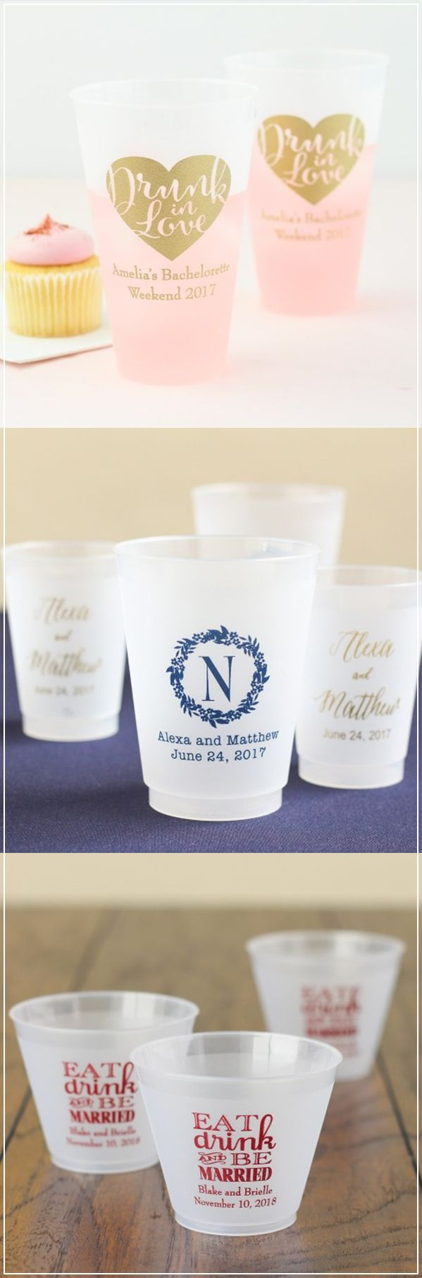 Toast to the bride and groom with the perfect personalized cups! Pick the perfect design and add your custom text for a one of a kind celebration!