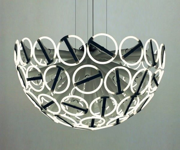 Calamares Chandelier with fluorescent lamps.
