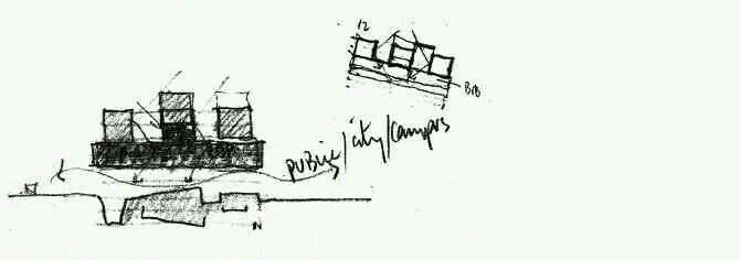 Sketch of university extension, Milan by Grafton Architects