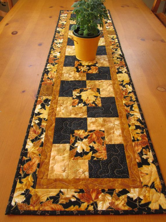 Quilted Table Runner Gold Leaves by PatchworkMountain on Etsy, $48.00