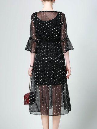 Black Polka Dots Mesh Bell Sleeve V Neck Midi Dress With Camis