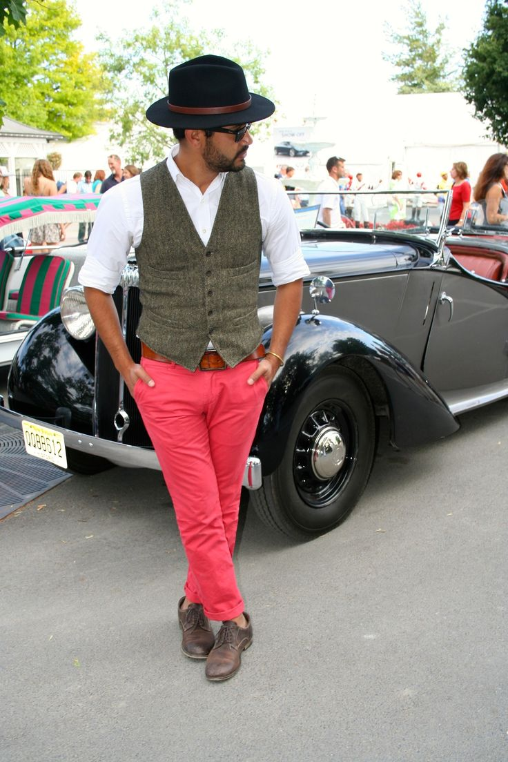 white button-down shirt, herringbone vest + nantucket red chinos at the Saratoga…