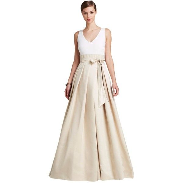 Pre-owned Aidan Mattox Ivory And Champagne Bloomingdales Web Id 988238... ($265) ❤ liked on Polyvore featuring dresses, gowns, ivory and champagne, aidan mattox dresses, ivory dress, floor length evening dresses, ivory evening dress and ivory gown