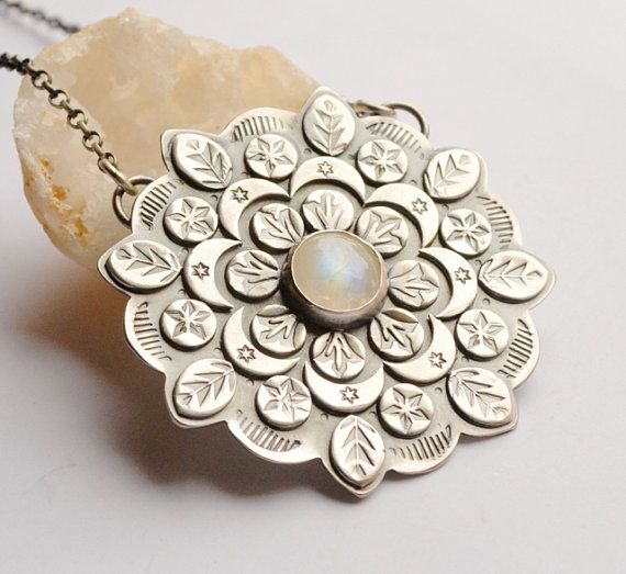 Large Mandala Style Pendant Handmade in Silver by EONDesignJewelry
