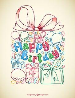 Tarjeta de cumpleaños con boceto de regalo