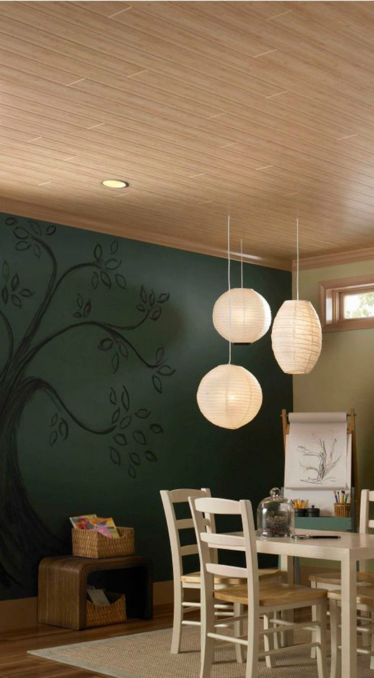 Here's a creative baseement ceiling idea: WoodHaven ceiling planks ...