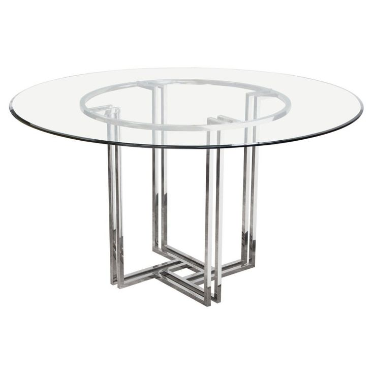 Diamond Sofa DEKO Polished Stainless Steel Round Dining Table With Clear  Tempered Glass Top   DEKORDT
