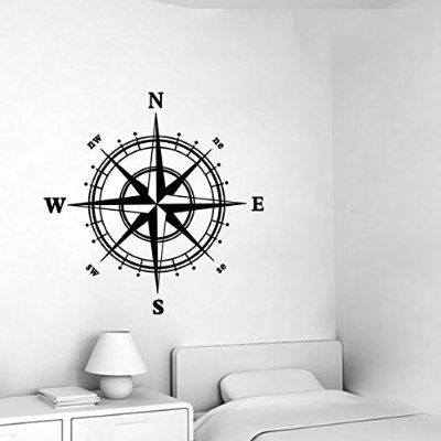 swsd (TM) Fashion Motif boussole nautique Sticker mural Art Home Decor amovible Salon Chambre Stickers muraux