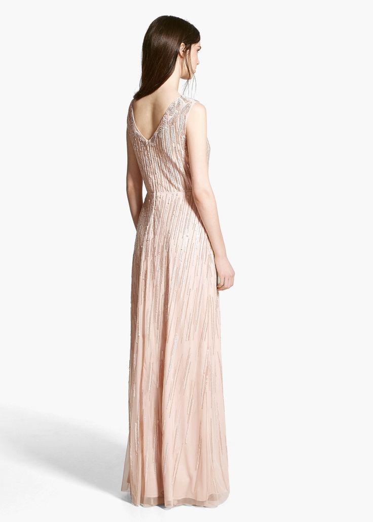 Online exclusive - langes kleid mit pailletten   MANGO