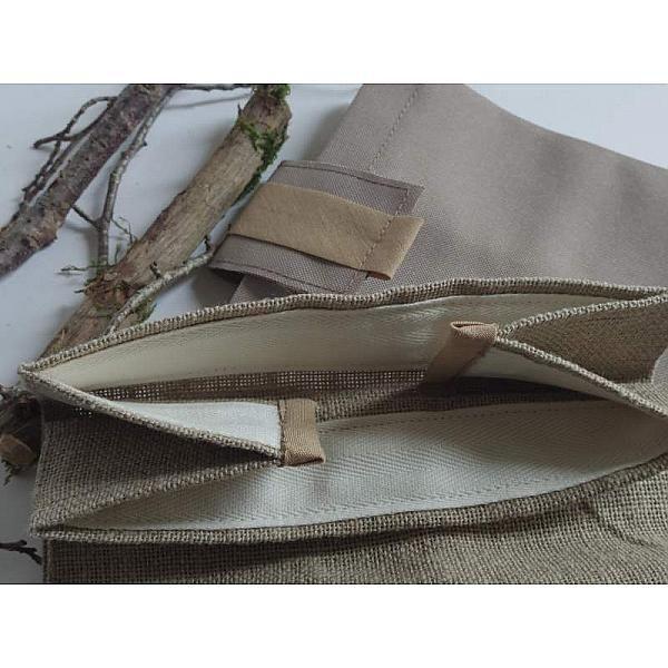 Lunch bag, lin, chocolat, idée cadeau, homme,bureau,dejeuner,pique nique,noel,sac,luxe,femme,bento,sandwich,marron,nature,chocolat,kraft,bro...