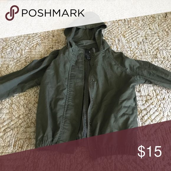 Olive green hooded jean jacket Tillys olive green jacket, worn very few times. Short fitted. Jackets & Coats